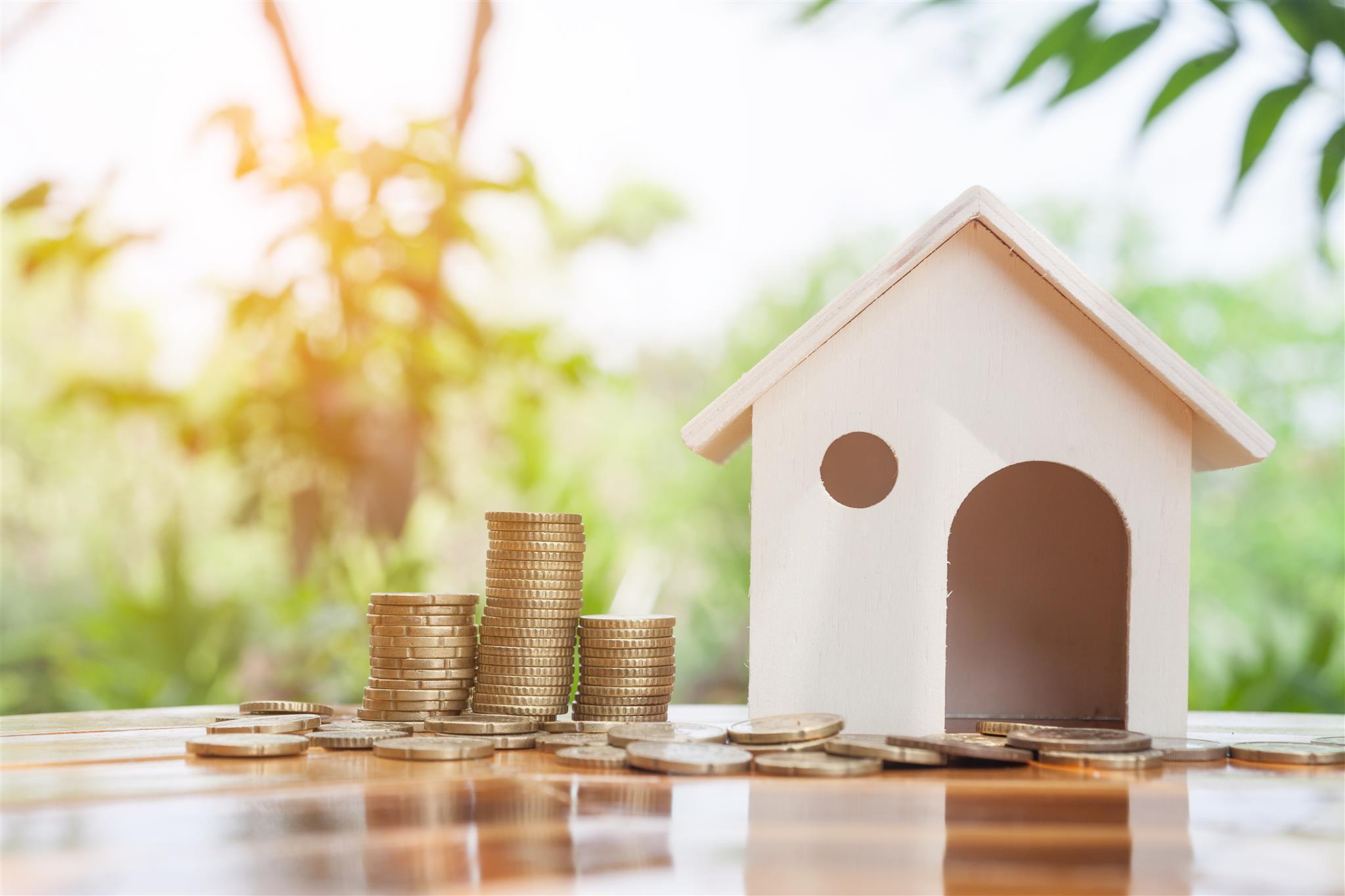 Vogelhuis met geldmunten